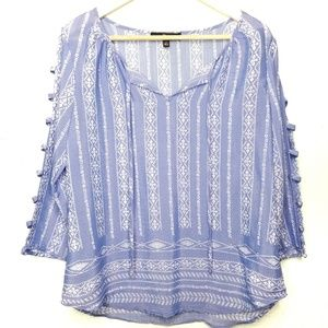 Fred David Blue White Cold Shoulder Blouse Medium